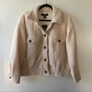 Forever 21 ivory teddy button jacket